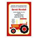Red Yellow Farm Tractor Birthday Invitation
