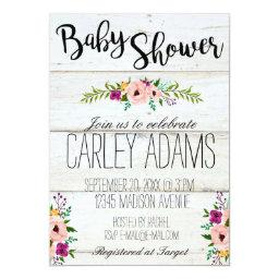 Rustic Adorned with Floral Baby Shower Invite