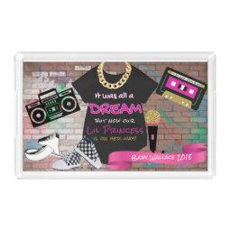 90's Hip Hop Pink And Gold Urban Baby Acrylic Tray