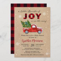 A Bundle Of Joy Truck Red Plaid Baby Shower Invitation