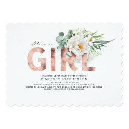 A Girl Floral Rose Gold Typography Baby Shower Invitation