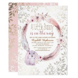 A Little Bunny Is On The Way Baby Shower Invitations