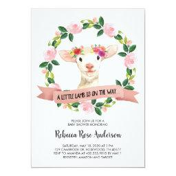 A Little Lamb Is On The Way Baby Shower Invitation