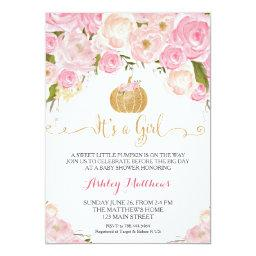 A Little Pumpkin Baby Shower Pink & Gold Glitter Invitation