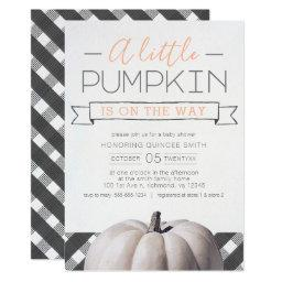 A Little Pumpkin Is On The Way Buffalo Check Fall Invitation