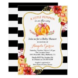 A Little Pumpkin Is On The Way | Girl Baby Shower Invitation