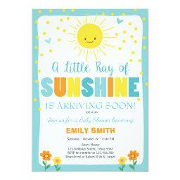 A Ray Of Sunshine Baby Shower Invitation Blue Boy