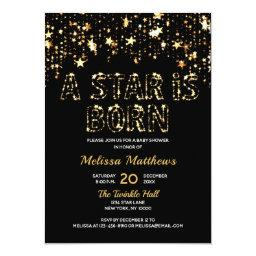 A Star Is Born Gold Black Baby Shower Invitation