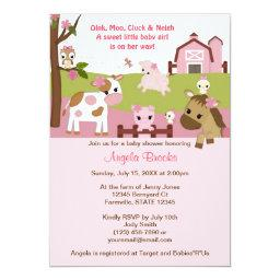 Abby's Farm Animal Girls Baby Shower Girl Pink Invitation