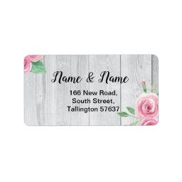 Address Labels Wood Flower Floral Pink Roses