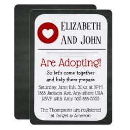 Adoption Shower Red & Black Chalkboard Invatation Invitation