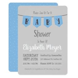 Adorable Blue Polka Dot Baby Shower Invitation