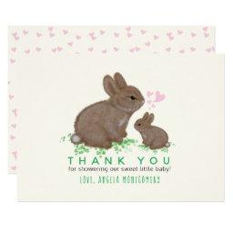 Adorable Bunnies and Hearts Baby Shower Thank You