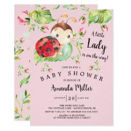 Adorable Little Lady Ladybug Baby Shower Invitation
