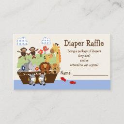 Adorable Noah's Ark Animals Diaper Raffle Tickets Enclosure Card