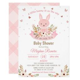 Adorable Pink Bunny with Flowers Baby Shower