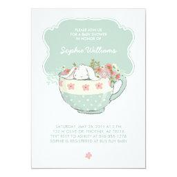 Adorable White Bunny in a Tea Cup Baby Shower