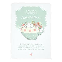 Adorable White Bunny In A Tea Cup Baby Shower Invitations