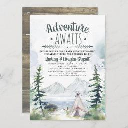 Adventure Awaits Woodsy Mountains Baby Shower Invitation