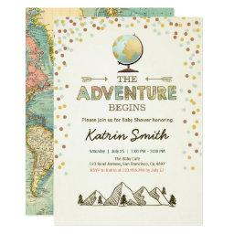 Adventure Begins Baby Shower Invitations Globe Map