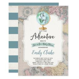 Adventure Begins Baby Shower Invitation Map Shower
