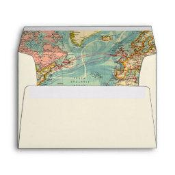 Adventure Begins Envelope World Map Vintage