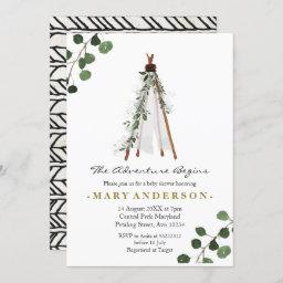 Adventure Bohoteepee Baby Shower Invitation