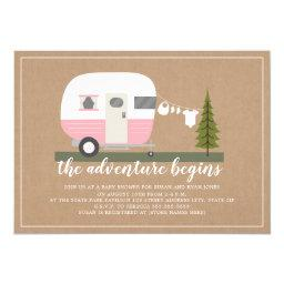Adventure Pink Trailer Camper Woodland Baby Shower Invitation