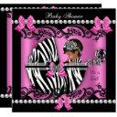 African American Baby Shower Cute Girl Pink Zebra Invitations