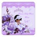 African American Baby Shower Girl Butterfly Lilac Invitations