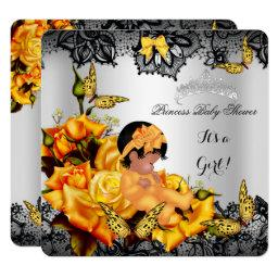 African American Baby Shower Girl Butterfly Yellow