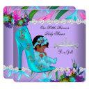 African American Baby Shower Girl Teal Purple Invitation