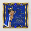African American Blue Gold Prince Baby Shower Invitation