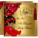 African American Girl Baby Shower Red Gold Invitations