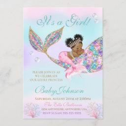 African American Mermaid Baby Shower Glitter Tail Invitation