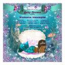 African American Mermaid Princess Baby Shower Invitations
