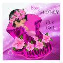 African American Pink Baby Shower Girl Plum Floral Invitations