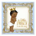 African American Prince Baby Shower Baby Blue Invitations