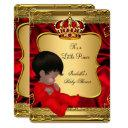 African American Prince Boy Baby Shower Red Gold Invitation