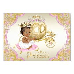 African american baby shower invitations babyshowerinvitations4u african american princess pink gold baby shower invitation filmwisefo