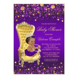 African American Princess Purple Gold Baby Shower