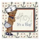 African American Sailor Boy Nautical Baby Shower Invitation
