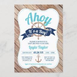 Ahoy It's A Boy Baby Shower Invitation