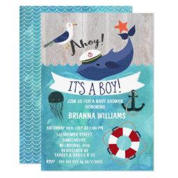 Ahoy Whale Baby Shower Invitation