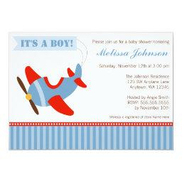 Airplane Stripes Red Blue Boy Baby Shower