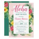 Aloha Tropical Floral Pink Baby Shower Invitation