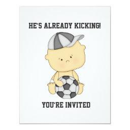 Already Kicking Soccer Baby Shower Invitation