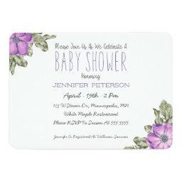 Anemone Floral Baby Shower Invitation