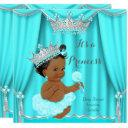 Aqua Teal Princess Baby Shower Silver Ethnic