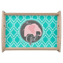 Aqua Turquoise Retro Baby Girl Elephant Shower Serving Tray